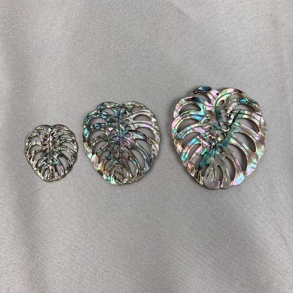 Filigree Monstera Deliciosa Leaf Abalone Shell Loose Piece - Per Pair