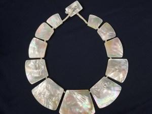 Graduated Circular Sector Beads Yellow MOP Necklace