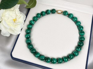 Malachite Necklace with Gold Plated Vermeil Sterling Silver Clasp
