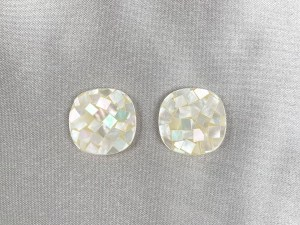 Mosaic Rounded Square White MOP Cabochon - Per Pair