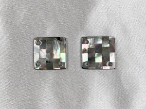 Mosaic Square Black MOP Cabochon - Per Pair