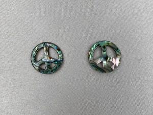 Peace Symbol Abalone Loose Piece - Per Pair