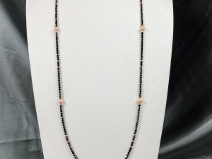 Pink Pearl Rose Gold Plated Hematite Necklace