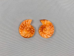 Spiral Nautilus Spiny Oyster Shell Cabochon Symmetry - Per Pair