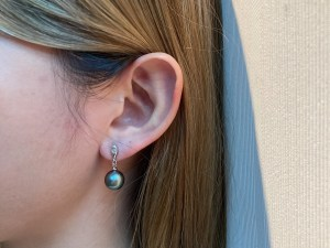 Tahitian Black Pearl Dangle Earrings with Sterling Silver