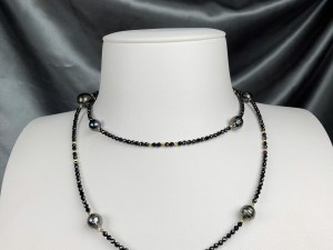 Tahitian Black Pearl Gold Plated Hematite Necklace