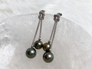 Tahitian Black Pearl Knotting Rope Dangle Earrings with Sterling Silver