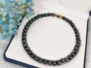 Tahitian Black Pearl Necklace with Gold Vermeil 925 Silver Clasp