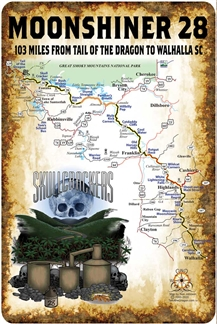 Metal Moonshiner Map Sign 12x18