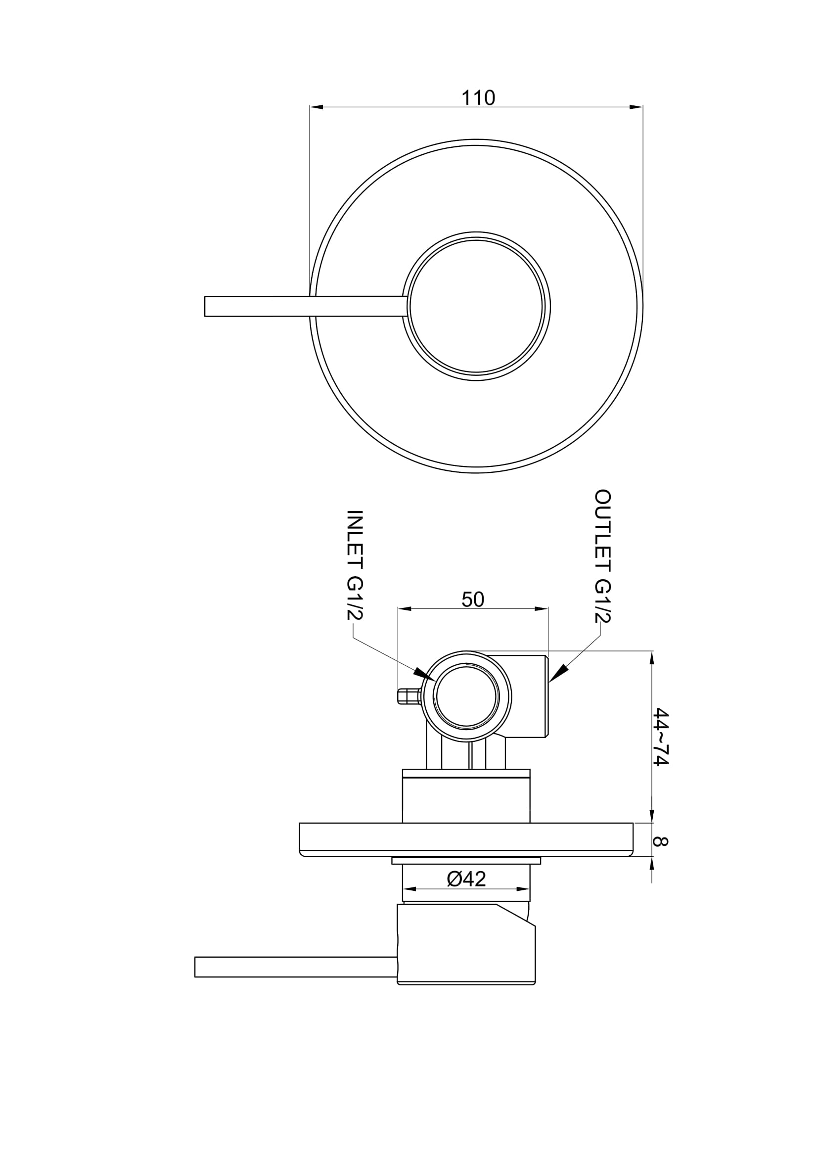 Modern Concealed Manual Shower Mixer Valve 1 Outlet Brass