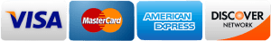 Image showing the 4 cards we accept payment from (Visa, MasterCard, American Express, and Discover).