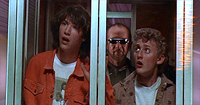 Ted (Keanu Reeves) and Bill (Alex Winters) with George Carlin in 'Bill & Ted's Excellent Adventure'