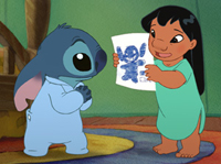 Stitch (left) gets reassured that he's still good by Lilo in 'Lilo & Stitch 2: Stitch has a Glitch'