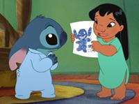 Stitch (left) gets reassured that he's still good by Lilo in 'Lilo & Stitch 2: Stitch has a Glitch'