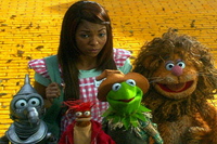 Ashanti accompanies (l. to r.) Gonzo, Pepe, Kermit and Fozzy down the yellow-brick road in 'Muppets' Wizard of Oz'