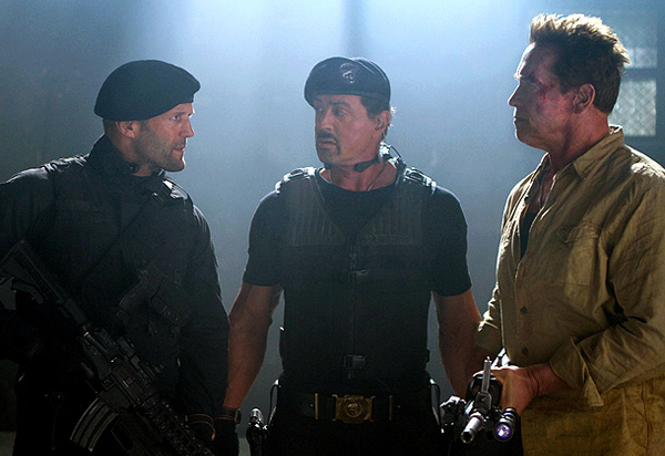 'The Expendables 2' (from left to right) Jason Stratham, Sylvester Stallone and Arnold Schwarzenegger