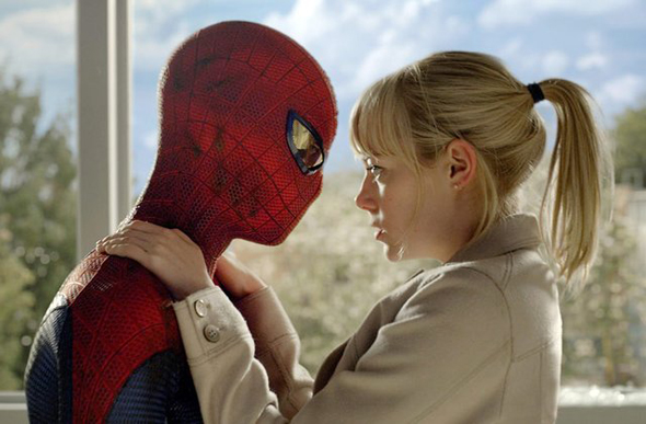 Andrew Garfield (as Spider-Man) and Emma Stone in 'The Amazing Spider-Man'