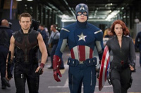 Chris Evans is Captain American; Scarlett Johansson is Black Widow and Jeremy Renner is Hawkeye in 'The Avengers'
