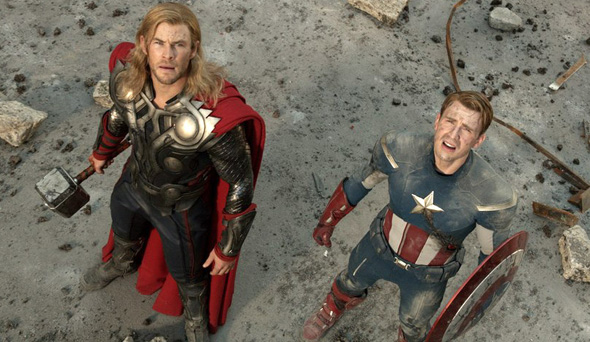 Chris Evans and Chris Hemsworth in 'The Avengers'