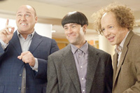 Will Sasso (l.), Chris Diamantopoulos (c.) and Sean Hays star in 'The Three Stooges'