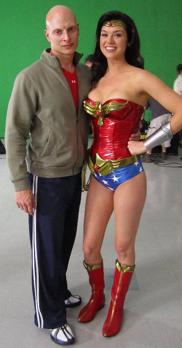 Adrianne Palicki with actor on set of 'Wonder Woman' pilot