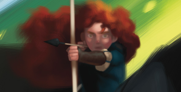 Conceptual drawing of Merida from 'Brave'