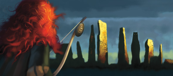Conceptual art shows Merida coming across a strange structure in 'Brave'