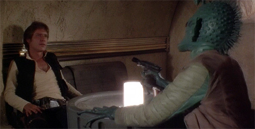 Star Wars: Episode IV – A New Hope – Han Solo and Greedo – Greedo shoots first
