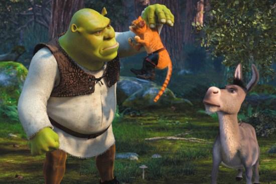 Shrek and Donkey meet Puss in Boots in 'Shrek 2'
