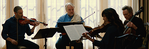 Mark Ivanir, Philip Seymour Hoffman, Catherine Keener and Christopher Walken make music together in 'A Late Quartet'