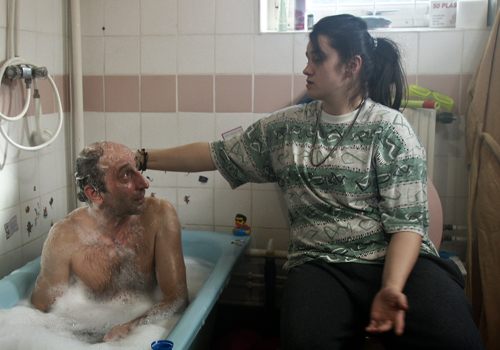 Milan Dragisic (left) and Nermina Lukac in 'Eat, Sleep, Die'