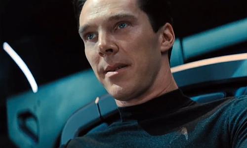 Benedict Cumberbatch is the latest 'Trek' villain as Khan/Gary Mitchell/Charlie Evans? in 'Star Trek Into Darkness' - and hey, isn't that a Starfleet emblem on his shirt??