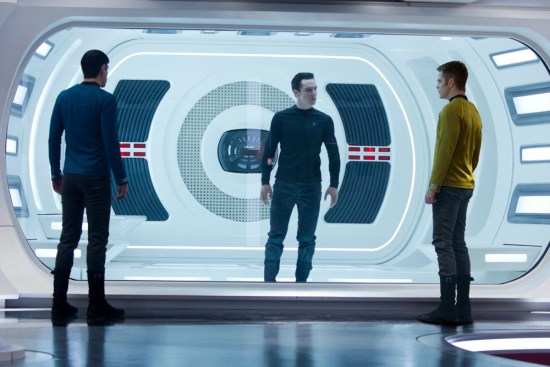 From left to right: Zachary Quinto is Spock, Benedict Cumberbatch is John Harrison and Chris Pine is Kirk in 'Star Trek Into Darkness'
