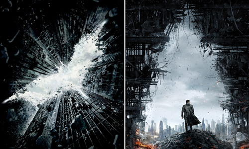 'Star Trek Into Darkness' and 'Dark Knight Rises' posters look strikingly similar