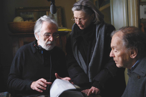 Director Michael Haneke with 'Amour' stars Emmanuelle Riva (center) and Jean-Louis Trintignant