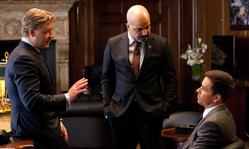 Russell Crowe, Mark Wahlberg and Jeffrey Wright in the mayor's office in a scene from 'Broken City'