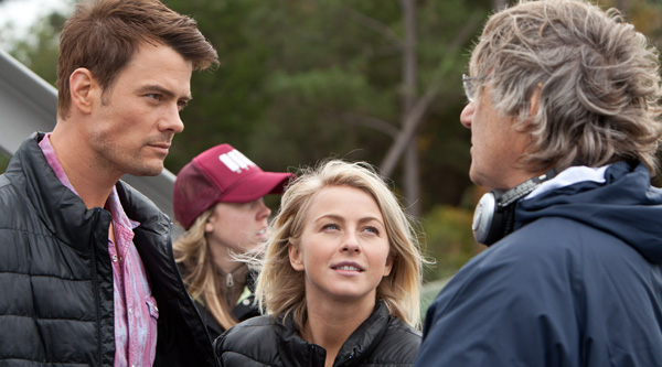 Josh Duhamel and Julianne Hough with director Lasse Hallstrom on the set of 'Safe Haven'
