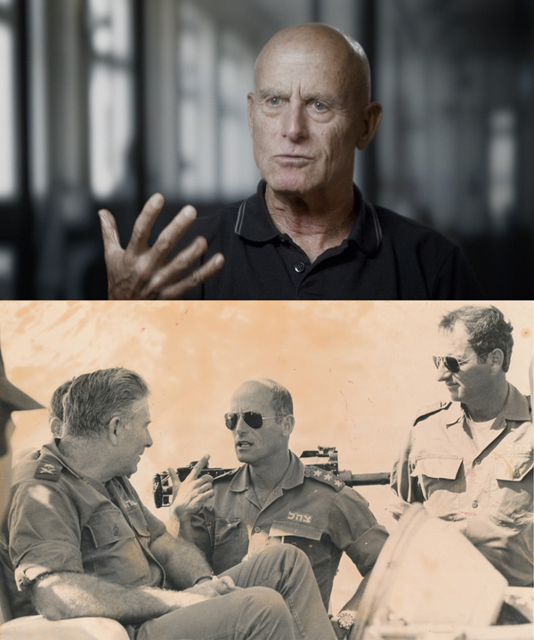 Ami Ayalon today in 'The Gatekeepers', and below that in an undated photo from his time with Shin Bet