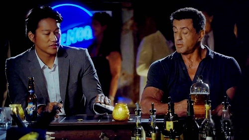 Sung Kang with Sylvester Stallone in 'Bullet to the Head'