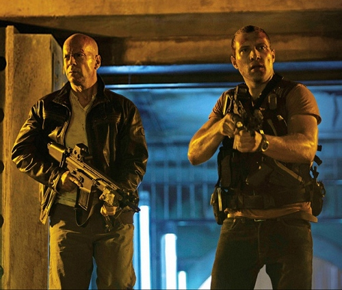 Bruce Willis and Jai Courtney as father/son badasses about to take on legions of bad guys