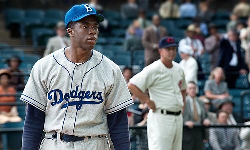 Chadwick Boseman is Jackie Robinson in '42'