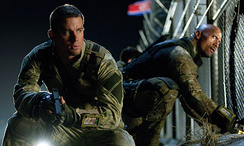 Channing Tatum returns as 'Duke' to fight alongside Dwayne Johnson (as 'Roadblock') in 'G.I. Joe Retaliation'