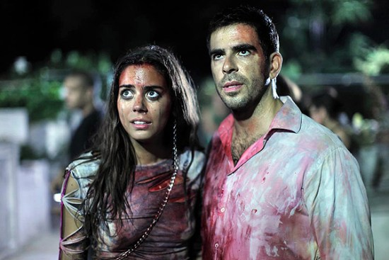 Lorenza Izzo with Eli Roth in 'Aftershock'