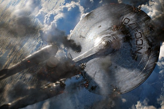 The U.S.S. Enterprise burns and falls to Earth in 'Star Trek Into Darkness'
