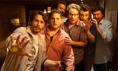 From left to right: James Franco, Jonah Hill, Craig Ferguson, Seth Rogen, Jay Baruchel and Danny McBride fight to survive the apocalypse in 'This is the End'