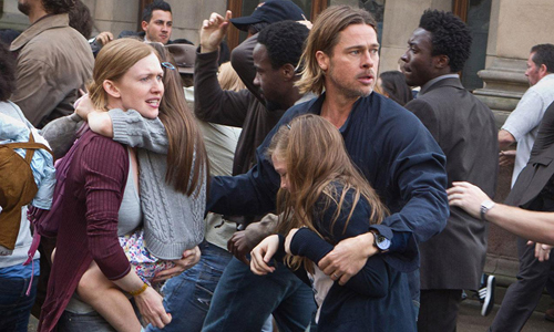Brad Pitt fights to save the world, and his family, in 'World War Z'