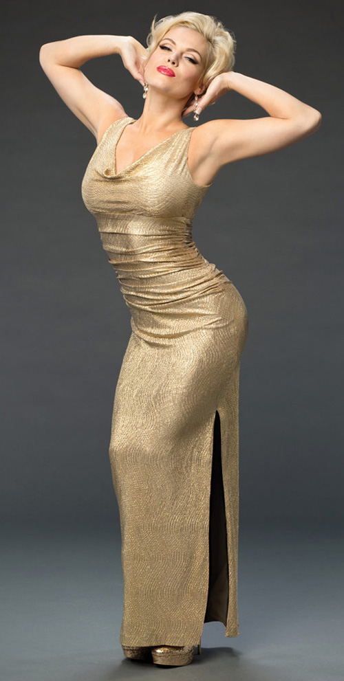 Agnes Bruckner strikes a pose in gold as Anna Nicole Smith