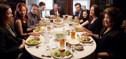 The extended Weston family dining together in 'August: Osage County'