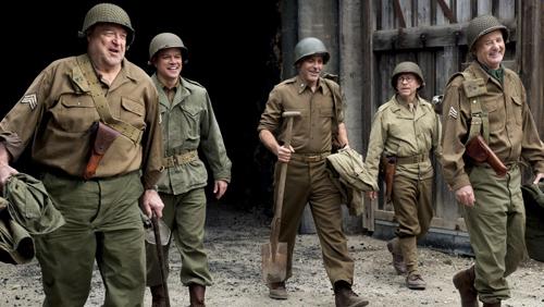 The cast of 'Monuments Men' (from right to left): John Goodman, Matt Damon, George Clooney, Bob Balaban, Bill Murray