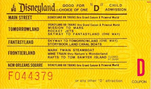 An original Disleyland D Ticket, which gave access to some great rides. Sadly the film 'Tomorrowland' isn't one of them.